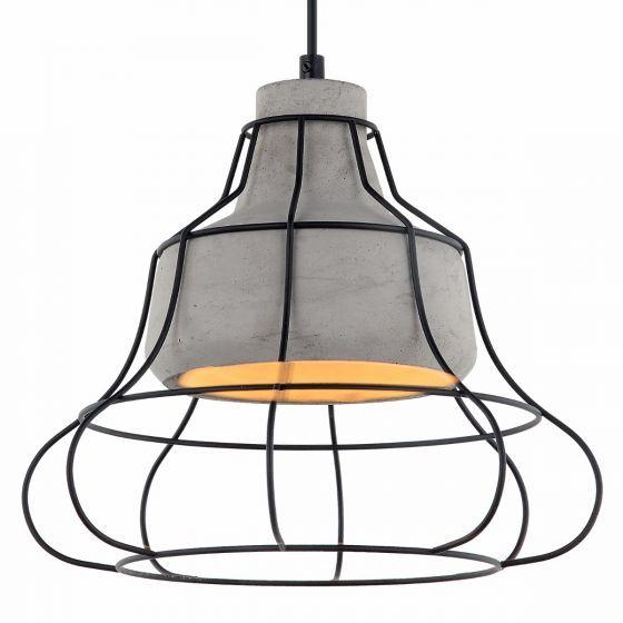 Lampada Uccello Concrete Shade & Black Cage Pendant Light
