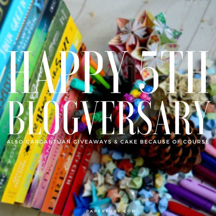 It's @PaperFury's blogversary and OH SHINY #GIVEAWAYS GALORE! Win bookish merchandise! Eat cake! YAY!
