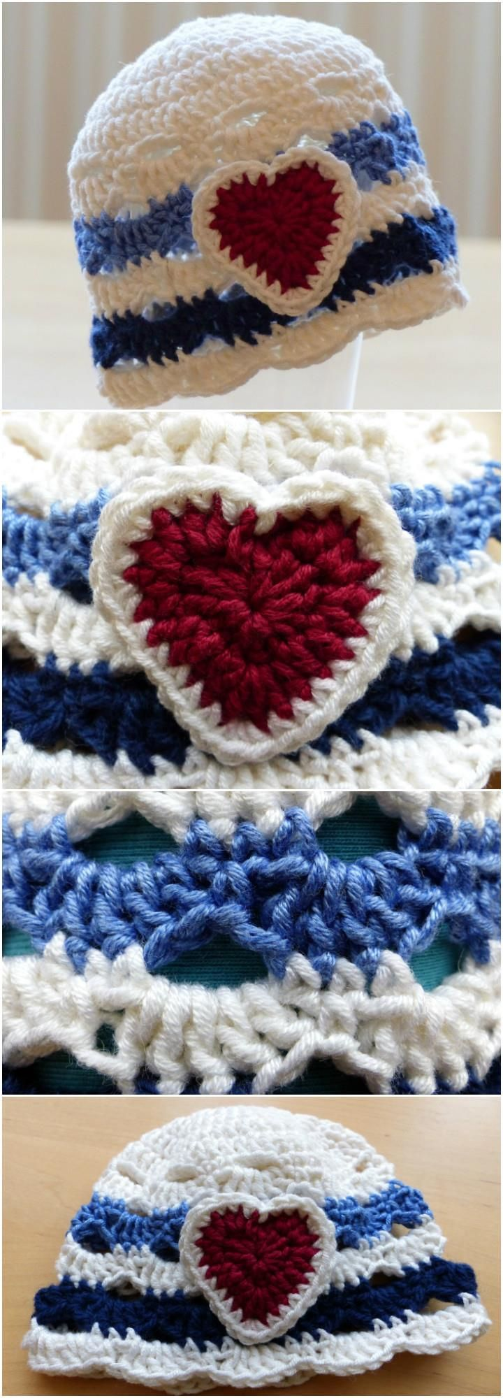 Crochet Love Heart Nautical Baby Hat - 17 Free Crochet Baby Beanie Hat Patterns | 101 Crochet