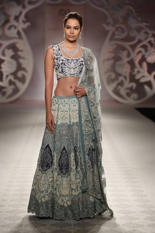 Blue Silver And Grey Lehenga