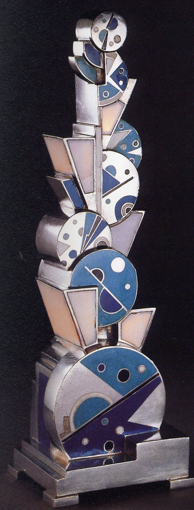 Art Deco Silvered Bronze and Champlevé Enamel Lamp (1928) by Jean Goulden, France