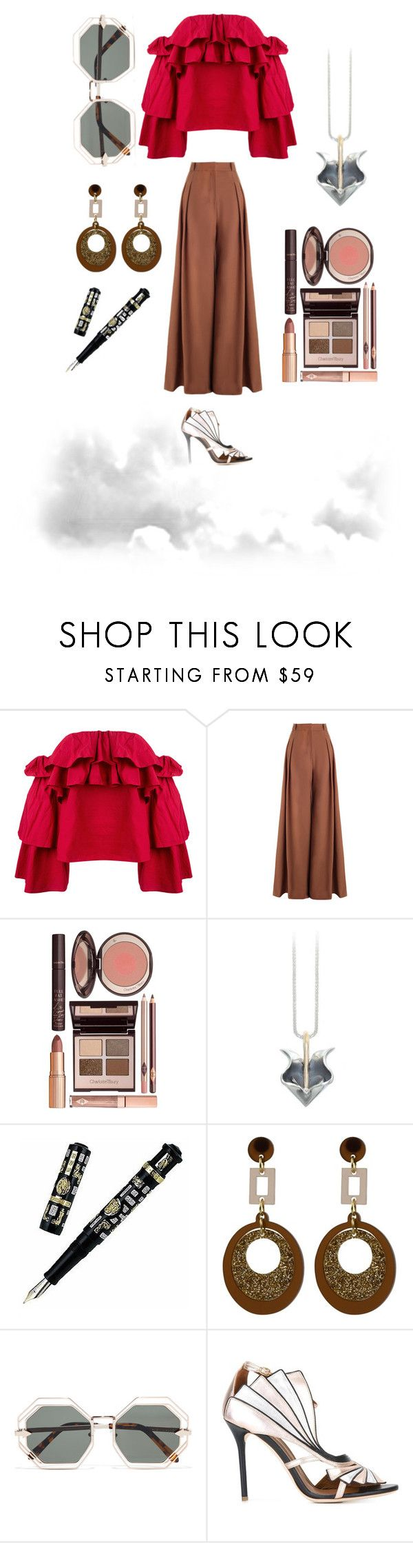 """""""A bit of Vintage"""" by norajox-kim ❤ liked on Polyvore featuring Erika Cavallini Semi-Couture, Zimmermann, Charlotte Tilbury, Visconti, Toolally, Karen Walker, Malone Souliers, vintage and notsponsored"""
