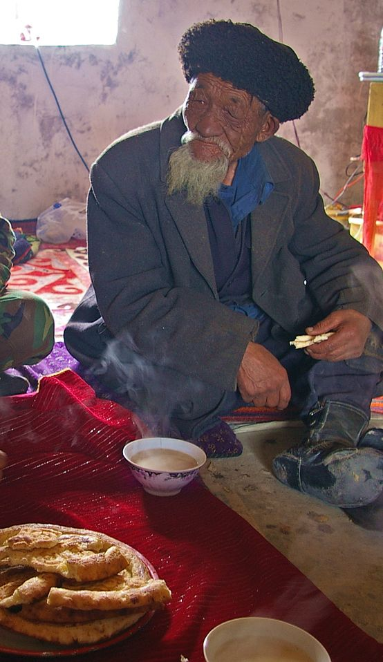 Flat bread and yak's milk tea at a home along the Karakoram highway