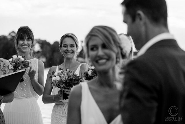 Bridal party at the alter smiling at bride and groom, NSW Central Coast Wedding | Taryn Ruig Photography | Weddings, Portraits and Lifestyle Photography | Sydney, Australia | www.tarynruig.com