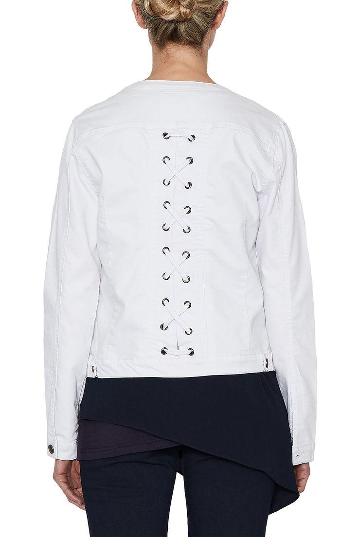 Threadz - White Denim Lace Up Jacket - 19568
