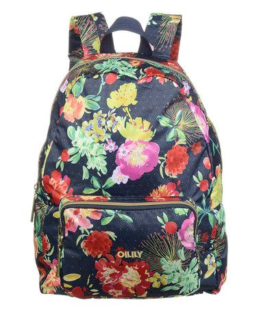 Look at this #zulilyfind! Navy Floral Fold Backpack #zulilyfinds