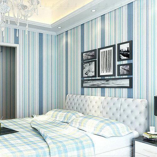 Modern Mediterranean vertical stripes non-woven wallpaper for bedroom the living room TV sofa backdrop