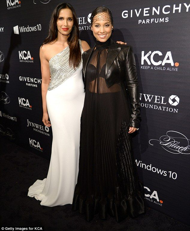Firm friends: Alicia also took the time to pose for photos with her pal Padma Lakshmi...