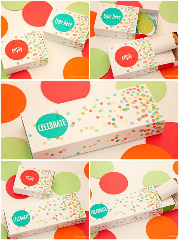 30 Days of FREE Party Printables: Day 24 - Confetti Matchbox Favor Boxes by Piggy Bank Parties by Birds Party