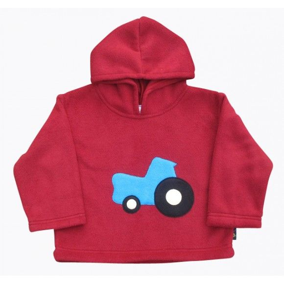 Berry Red Fleece Hoody with Blue Tractor For kids under 6 | Made in UK | http://www.madecloser.co.uk/clothes-accessories/children/berry-red-tractor