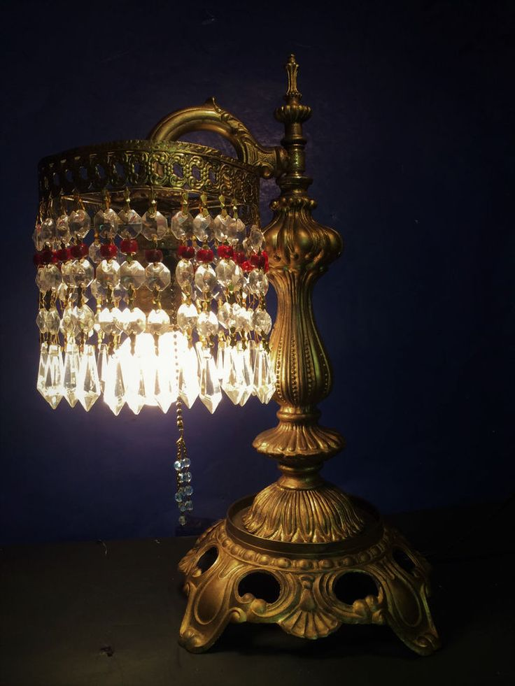FINE  ANTIQUE VICTORIAN TABLE OR DESK LAMP W/ CRYSTAL LUSTRES!~ C.1915 #victorian