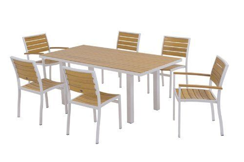 POLYWOOD® Euro 7-Piece Dining Set by POLYWOOD®. $2089.93. Eco-friendly production with over 90% recycled materials. Set includes four A100 Euro Dining Side Chairs- two A200 Euro Dining Arm Chairs- and one AT3672 Euro 36in x 72in Dining Table. Solid- heavy-duty construction withstands nature's elements. Available in 7 aluminum frame and slat color combinations. Made in the USA. Euro 7-Piece Dining Set in Textured Silver Aluminum Frame / Plastique