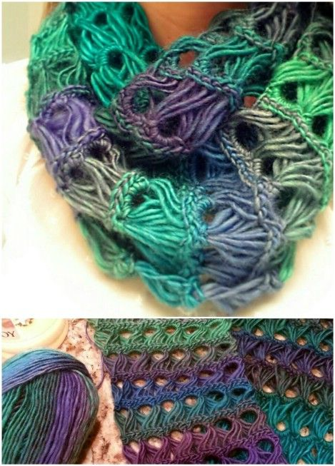 Broomstick lace infinity scarf
