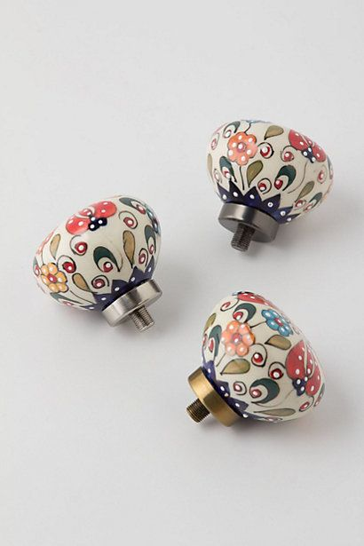 Handpainted Amaryllis Finials  #anthropologie