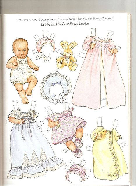 Sew Beautiful paper doll Cecil with Her First Fancy Clothes - Artist:  Theresa Borelli for Martha Pullen Company