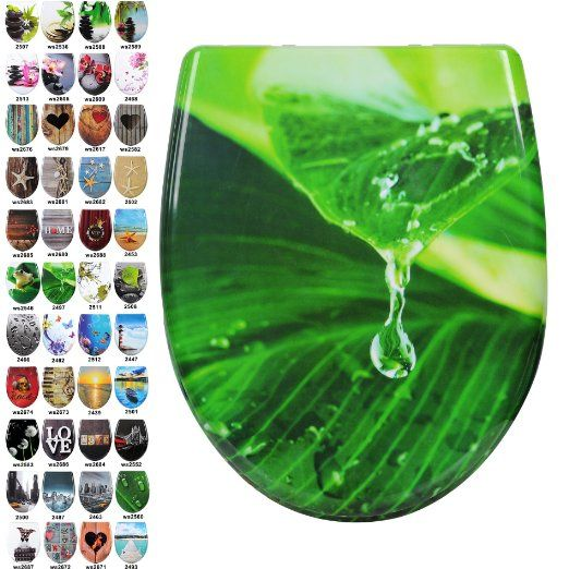 WOLTU 2447-1 WC Sitz Toilettensitz Toilettendeckel mit Absenkautomatik, Duroplast, Fast Fix/Schnellbefestigung,Softclose Scharnier, Antibakteriell Leuchtturm: Amazon.de: Baumarkt