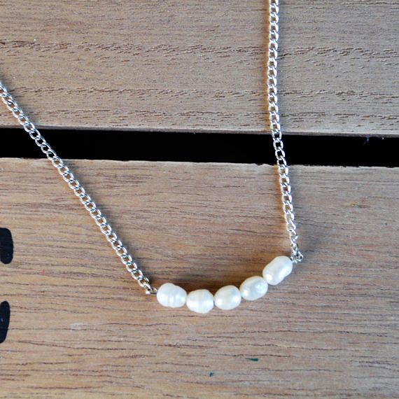 Freshwater pearl beaded necklace on a silver plated chain