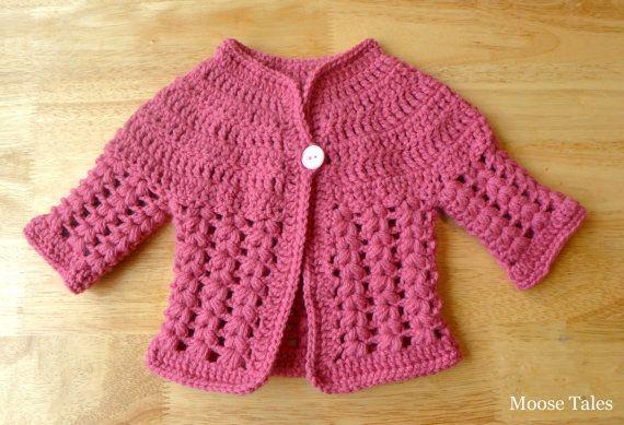 Moose Tales: Crochet Baby Sweater #pink #moosetales #crochetbaby