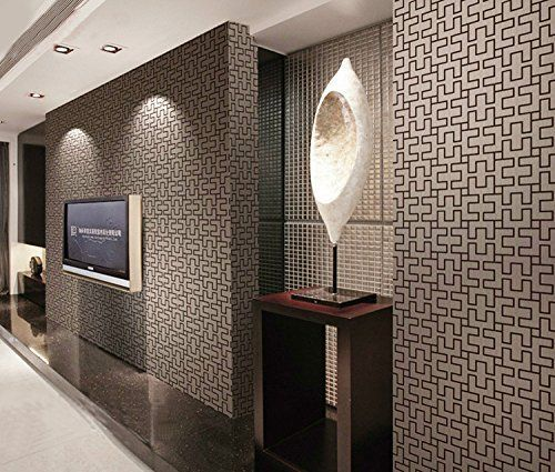Hanmero 3d dise o papel pintado moderno con geometr a for Papel pintado salon marron