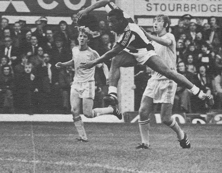 4th November 1978. West Brom centre forward Cyrille Regis power shooting at the Birmingham City goal.