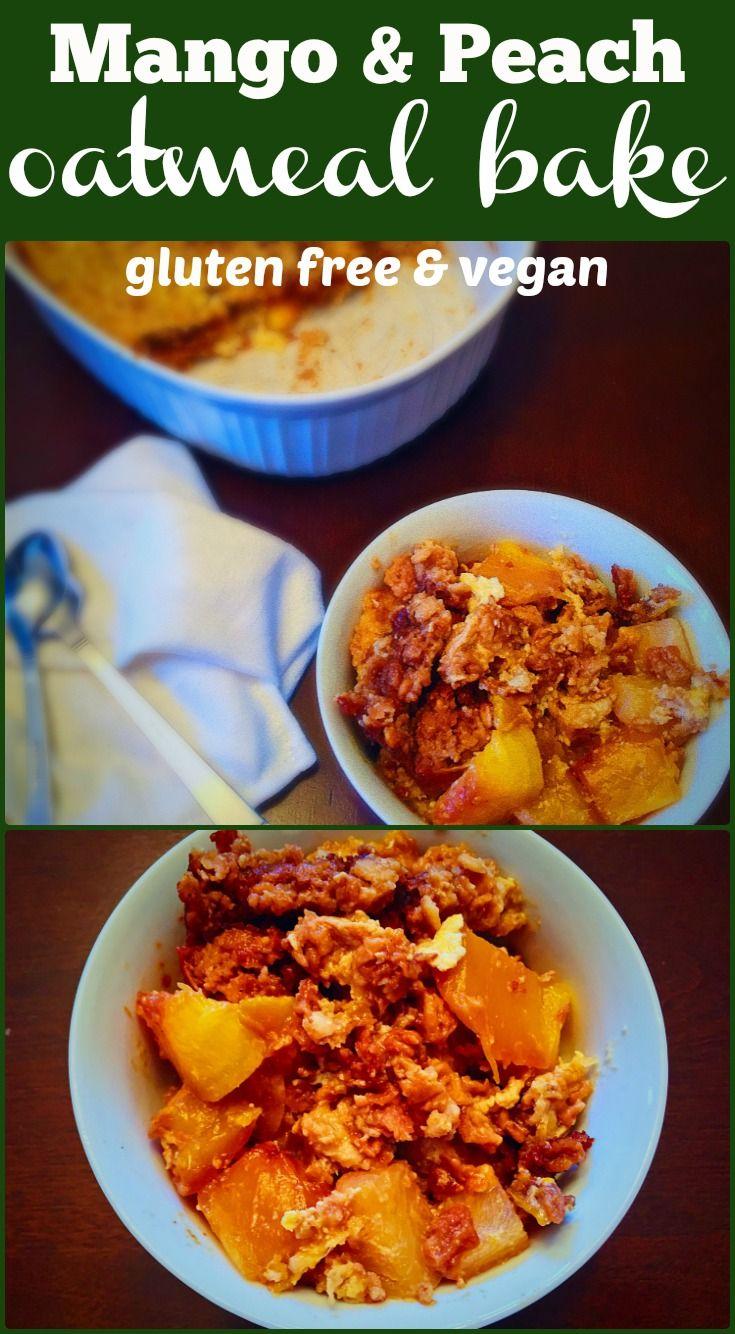 Mango & Peach oatmeal bake on Elle's Gourmet Life   Creamy, fruity, rich, dense, a little sweet and oh so satisfying oatmeal. #oatmeal #vegan