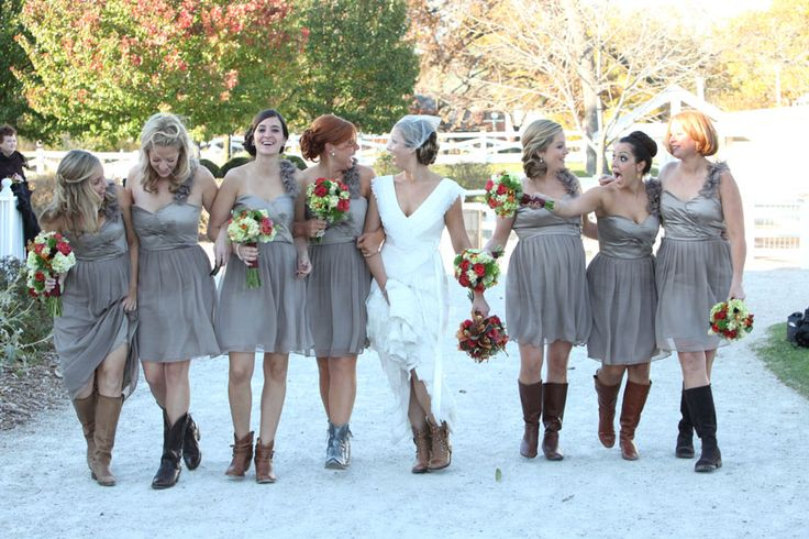 Short Bridesmaids Dress With Cowboy Boots