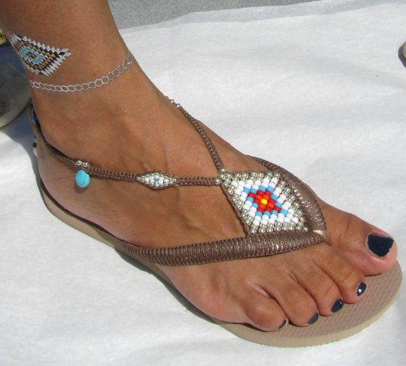 BOHO décoré sandales Multi couleur & bronze argent Sterling perle que Rose or Havaianas flip flops chaussures thong plat pantoufles