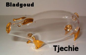 Glazen varkentje met bladgoud TE KOOP voor 9,95 euro - http://fmlkunst.home.xs4all.nl/glazenvarkens2/glas2.htm