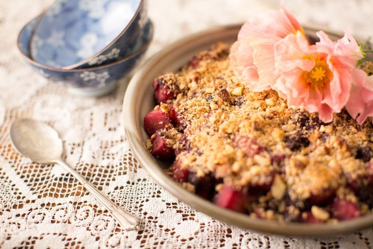 Apple Berry Crumble: As well as being a tasty and warming dessert, I love having any leftover crumble for breakfast through winter. It's warm both in temperature and with its gentle use of ginger, cinnamon and nutmeg.