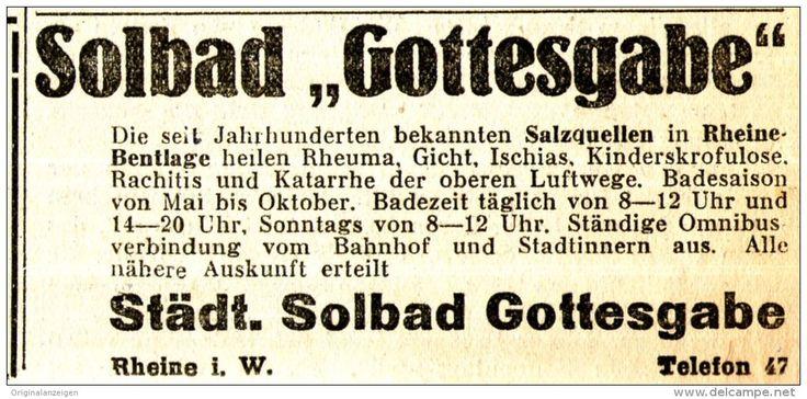 Original-Werbung/ Anzeige 1933 - SOLBAD GOTTESGABE - RHEINE - ca. 90 x 45 mm