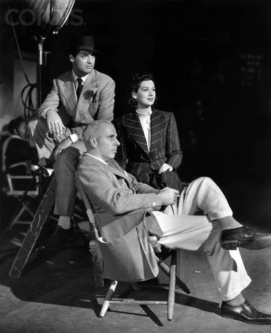 """Cary Grant, Rosalind Russell and Howard Hawks on the set of """"His Girl Friday"""", 1940"""