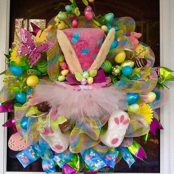 Easter Bunny Hat Wreath Easter Wreath Easter Egg by WreathsEtc
