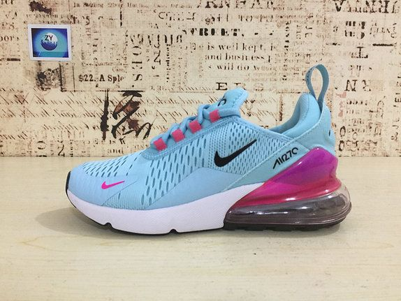 b83803499e Young Nike Air Max 270 Big Boys Shoe Running Shoes Flyknit Blue Pink 2018  Latest Styles AH8050 600