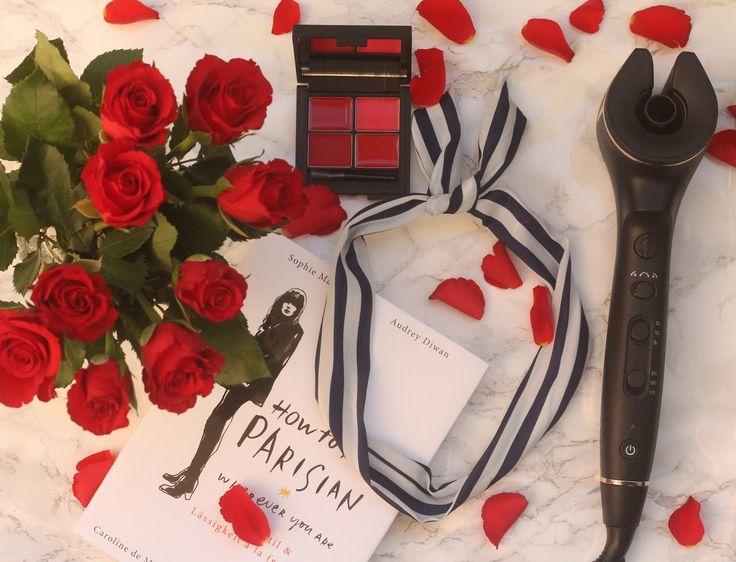 parisian chic  feat. Philips auto curler #parisan #howtobeparisian #redroses #red #roses #bluewhitestripes #bluewhite ästripes #philipsbeauty #beauty #autocurler #sleek #lipstickpalette #automatic #curlingiron #loveit #beautyblogger