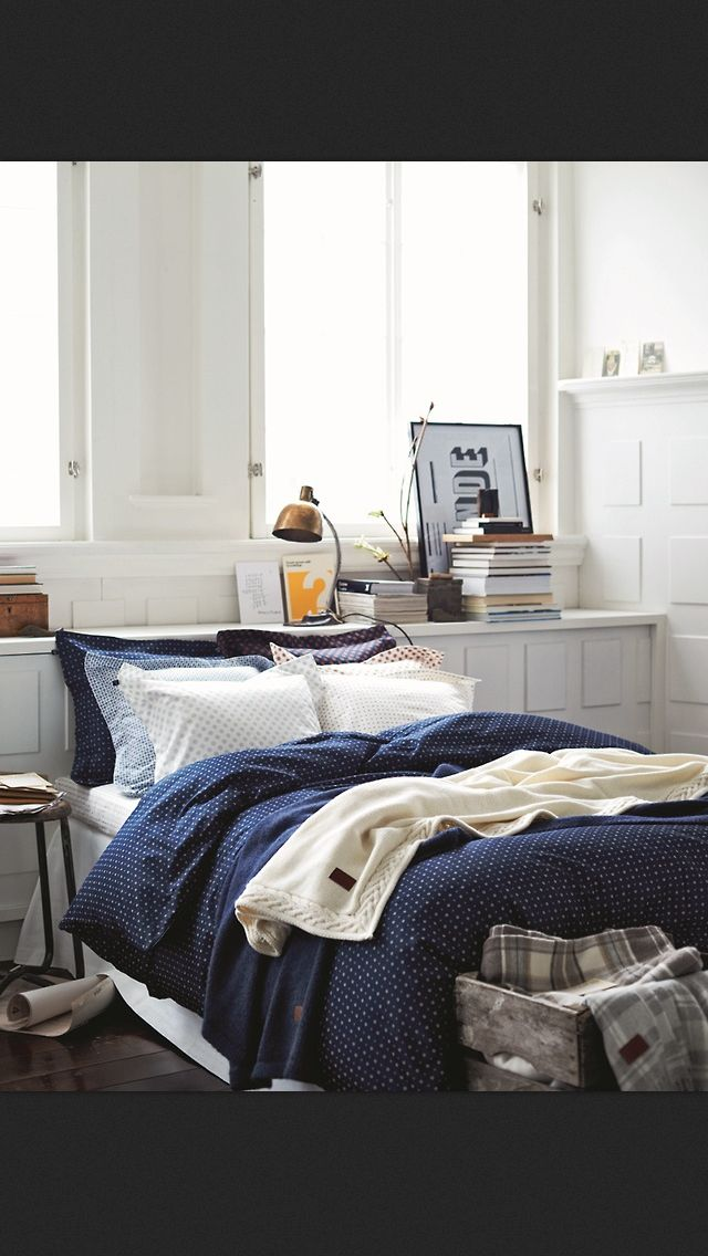 Beautiful blue and white bedroom Love the