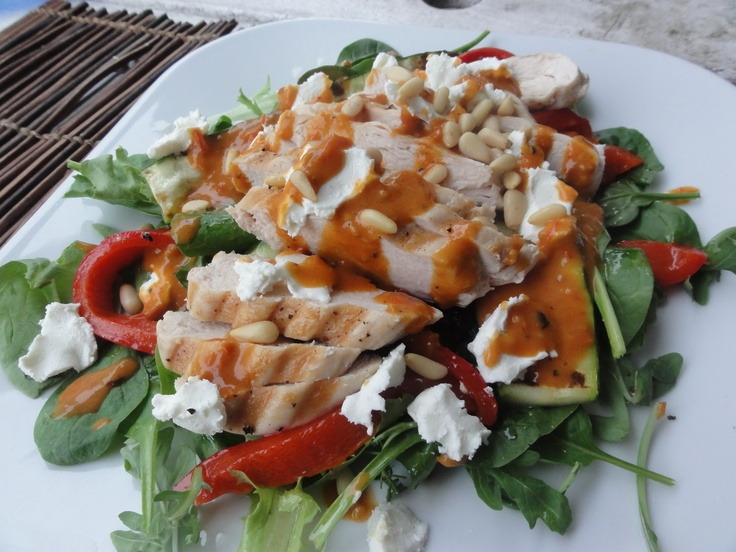 chicken salad with roasted red peppers, grilled zucchini, creamy ...