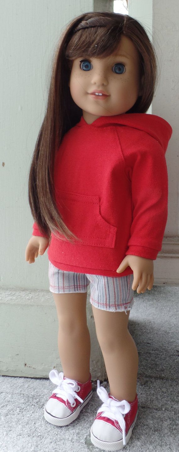 Red hoodie and striped shorts outfit by GumbieCatDollClothes on Etsy. Made with the Hoodie Dress and the Cut Off Shorts patterns. Get them here http://www.pixiefaire.com/collections/123-mulberry-st/products/hoodie-dress-18-doll-clothes.  http://www.pixiefaire.com/products/cut-off-shorts-18-doll-clothes. #pixiefaire #hoodiedress #cutoffshorts