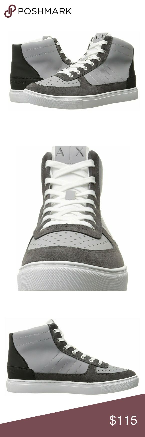 A|X Armani Exchange Sneakers Featuring visible stitch detailing and a perforated toe, this two-toned high-top is a go-to for everyday style. Armani Exchange Shoes Sneakers
