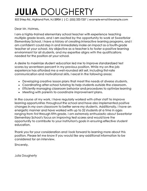 teacher cover letter examples education sample cover letters livecareer - Cover Letter For Teacher Position