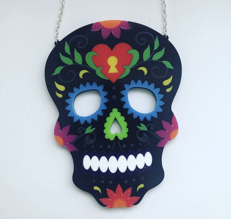 Candy Skull Laser Cut Acrylic Necklace - Large Statement Necklace - Day of the Dead - Plastic Skull - Dia De Lus Mueatos by AcrylicAsylum on Etsy https://www.etsy.com/uk/listing/528914324/candy-skull-laser-cut-acrylic-necklace