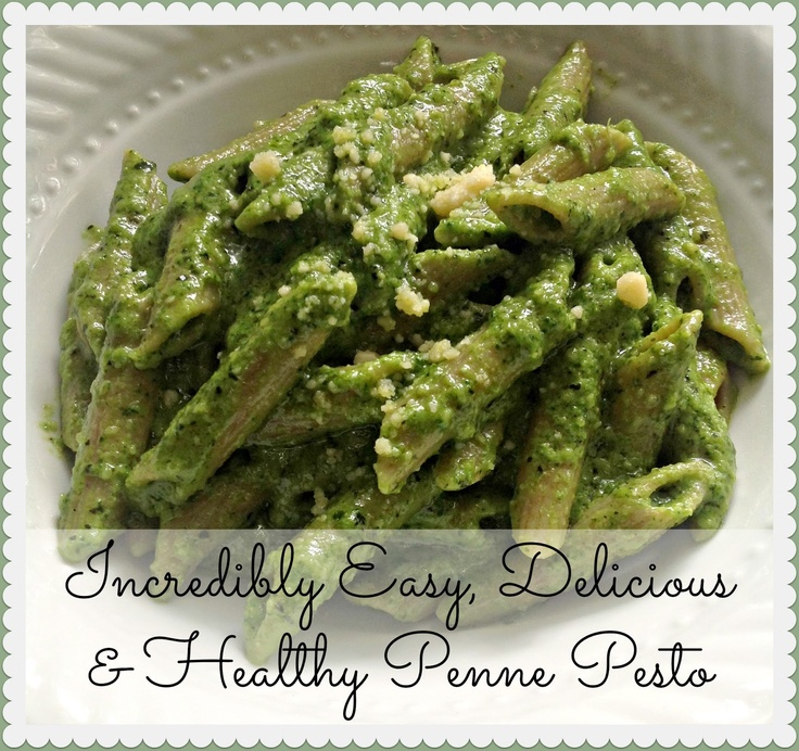 Incredibly Easy, Delicious & Healthy Penne Pesto. A combination of classic basil, spinach, pine nuts, almonds, olive oil, parmesan, with a twist! SO SO GOOD! #recipe #pesto # blogger