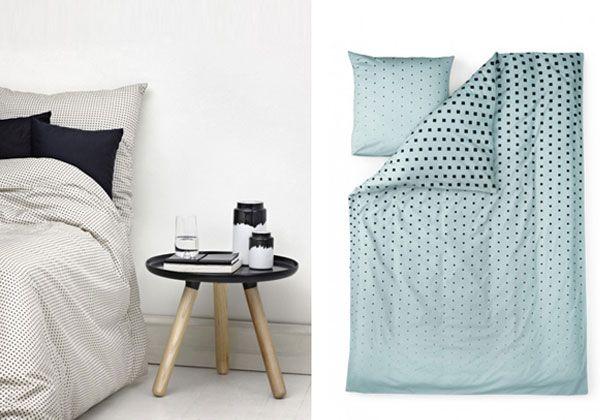 Completi letto Plus e Cube a pattern grafici disegnati da Anne Lehmann per i danesi Normann Copenhagen.
