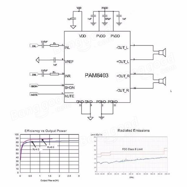 PAM8403 2 Channel USB Power Audio Amplifier Module Board
