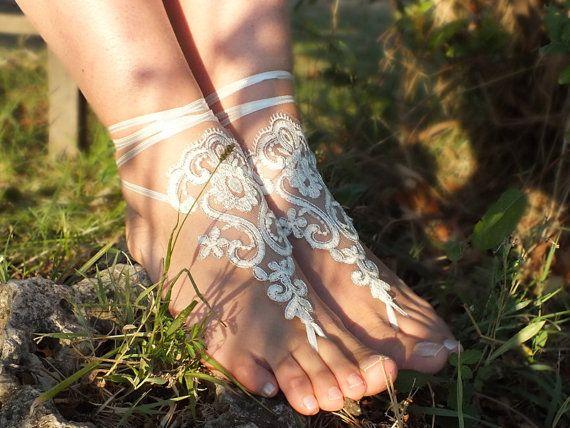 inci dantel sandalet gümüş çerçeve gelinlik dantel halhal Sahil düğün yalınayak sandalet ile işlemeli serbest gemi ---- fildişi,