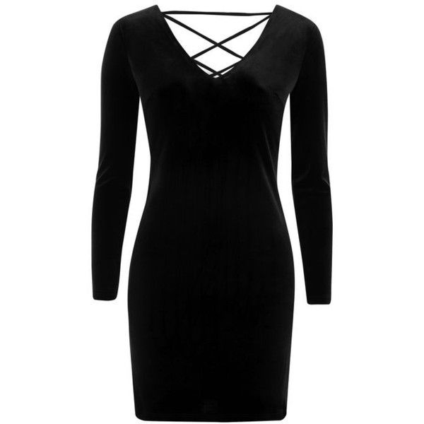 Topshop Petite Lace Up Velvet Bodycon Dress ($35) ❤ liked on Polyvore featuring dresses, long-sleeve velvet dresses, long sleeve velvet dress, velvet dress, bodycon party dresses and long-sleeve mini dress