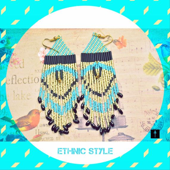 Beaded Thread Earrings Native American Inspired by BYTWINS on Etsy