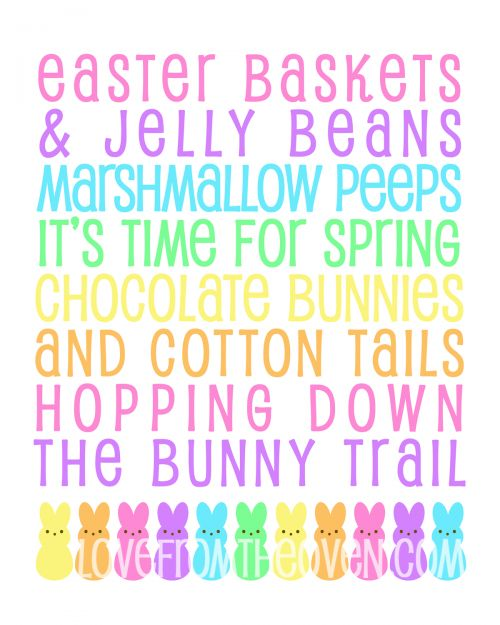 Free Easter Spring Peeps Printable Subway Art Sign - 16x20 or 8x10. Enjoy! This would also be cute painted on a canvas