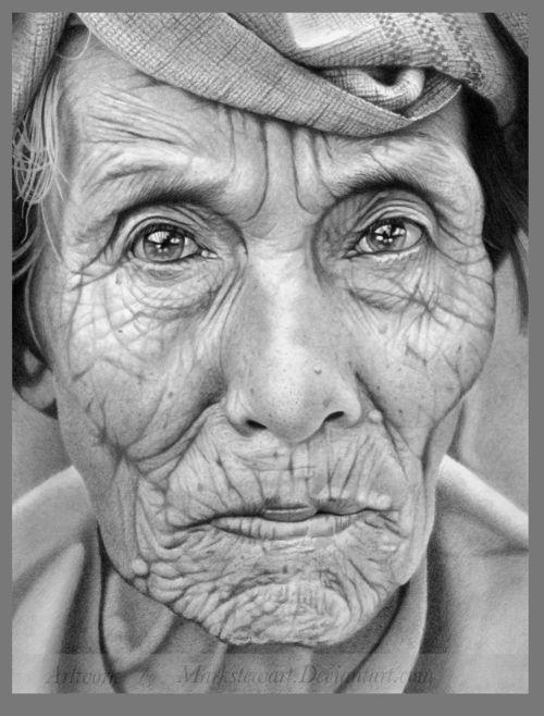 markstewart  deviantArt  drawing  figurative  face  portrait  elder  visual art
