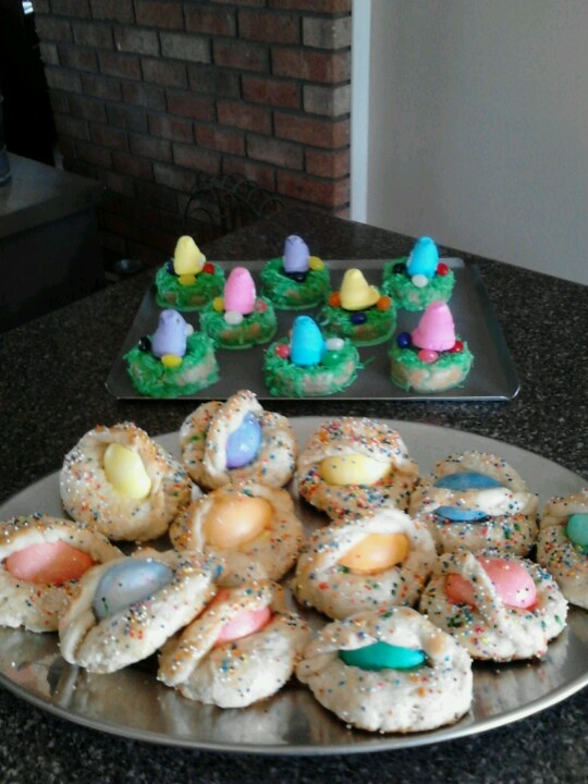 Easter egg cookie baskets & peeps donut nests