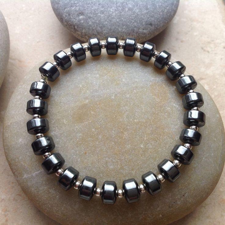 Hematite and Sterling Stretch Bracelet